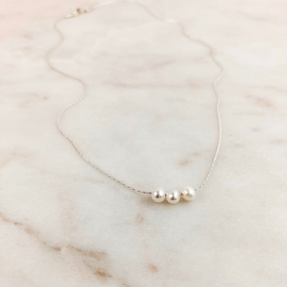 minimalist and delicate pendant Chain 1845cm Floating Layering pendant  Bridesmaid Anniversary Birthday Gift Silver necklace