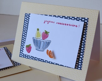 "Greeting Card, Happy Birthday Card, Fruit card ""Fruit Salad"""