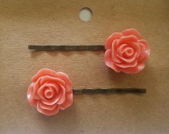 Rose Hair Pins in peach