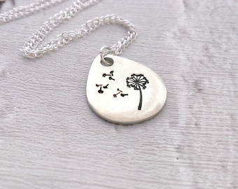 Dandelion and Fluff Pendant, Necklace, Teardrop, Hand Stamped, Pewter