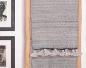 Luxury Cotton Throw Pom Pom, Beige Off White Moroccan Bedspread Coverlet, Hand Woven Bed Sofa Cover by Berber Artisans on Wooden Looms BC23