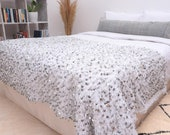 Pearl White Sequin Coverlet, Moroccan Wedding Throw Blanket, 79 quot x47 quot , Hand Crafted by Berber Women from Morocco s Atlas Mountains. BNH016