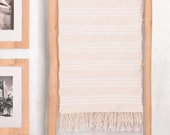 Light Cotton Throw 59x98 quot , Luxury Pale Cream Coverlet, Braided Fringe Moroccan Bedspread, Hand Woven by Berber Artisans on Wooden Looms BC21