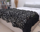 Moroccan Wedding Throw Blanket, Black Coverlet, Queen Bed 75 quot x41 quot , Hand Crafted by Berber Women from Morocco s High Atlas Mountains. BNH013