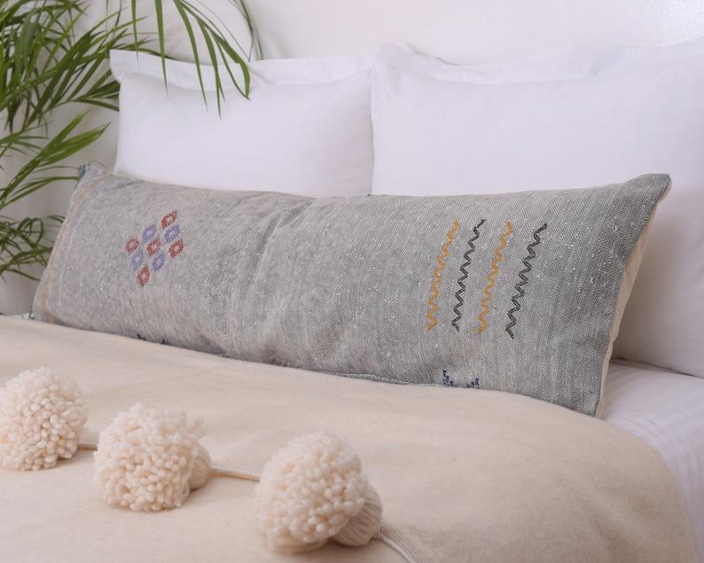 Lumbar Bed Pillow Handwoven by Berber Women from Morocco CRSL167 Light Gray 14x46 Oversized Cactus Silk Moroccan Sabra Sofa Cushion