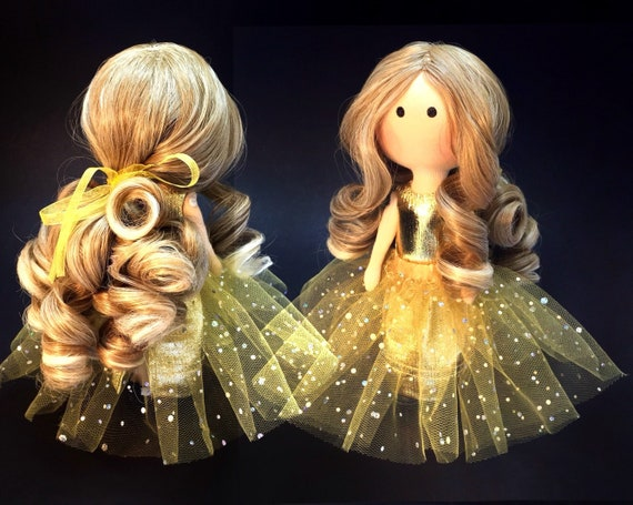 Wonderful Gold Princess Doll With Beautiful Curly Hair In Etsy