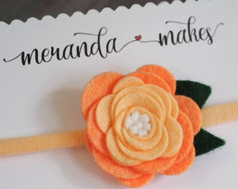 Large Felt Flower, Peach Rose, Orange Ombre Hair Bow for Baby or Girls, Handmade Wool Felt Hairbow Clip or Headband, Custom Made Felt Flower