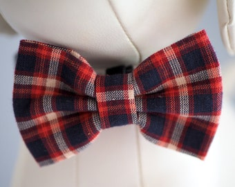 Plaid Patriotic Dog Bow Tie for July 4th, Red White Blue Bow Ties for Dogs / Cats Dress Up, Velcro Collar Bowtie fits Small Medium Large Pet