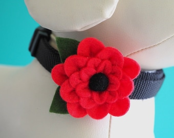 Poppy Red Collar Flower, Handmade Summer Felt Flower for Dogs or Cats Wedding or Photos, Pet Collar Girl Dog Bow Accessory Velcro Attachment