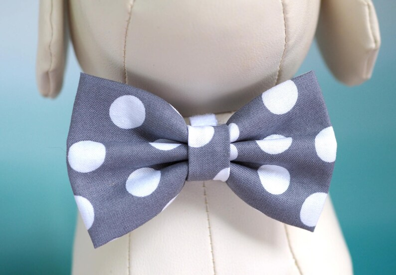 e2a91826a3b7 Gray Dog Bow Tie Grey Polka Dot Neutral Fall Wedding Bow Ties | Etsy