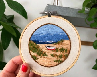 """Beach landscape embroidery hand stitched art 4"""" hoop, nautical embroidery, boat and sea embroidery"""