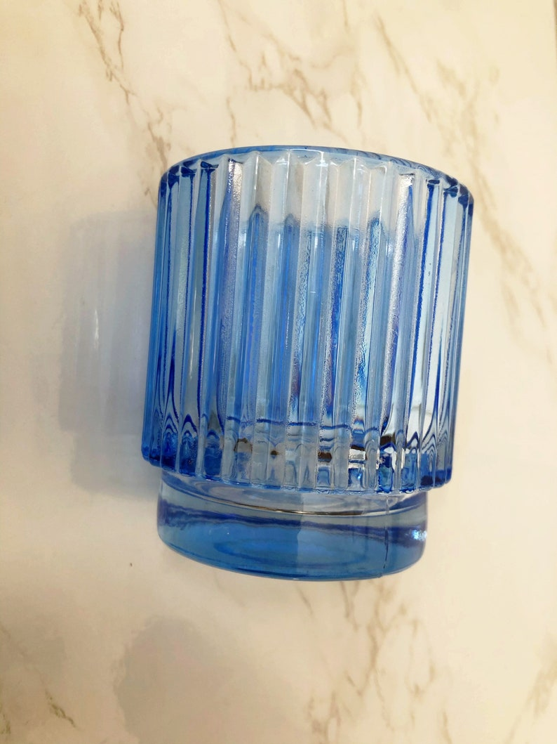 Mid century Art Deco sky blue tumbler glass 3 inches tall