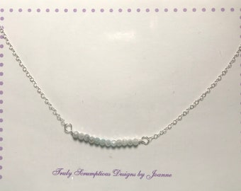 Ombre light blue to off-white silverite bar sterling silver necklace