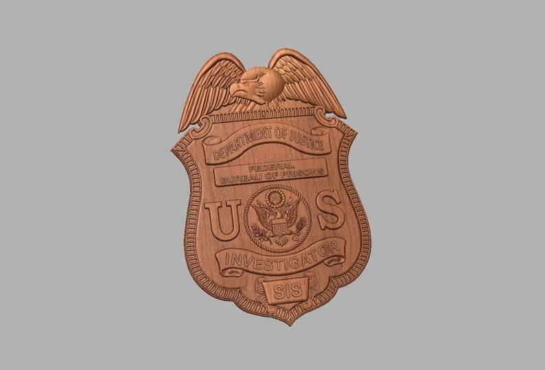 Federal Bureau of Prison Inspectors badge plaque