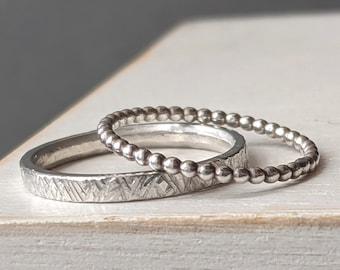 Shimmer & Beaded Ring Set