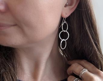 Silver Triple Drop HOOP earrings