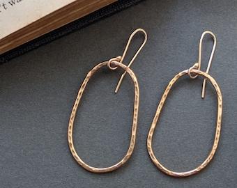 Large Asymmetrical Gold Hoop Earrings