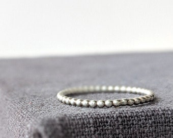 Silver BEADED ring. Plain Silver ring, beaded  ring, handmade silver band ring, handcrafted hammered ring