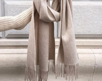 Cashmere scarf /Pashmina /genuine /Italian design /beige scarf /camel scarf /gray scarf /luxury /warm /Women /Men /large /wool cashmere