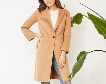 07a178fccc5f7 Wool Coat. Available in Camel and Black. Merino Soft Wool. One button.  Fitted. Mid-length. Handmade. Warm.