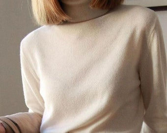 Pure Cashmere Turtleneck | Cashmere Sweater | Very Warm and Soft | Women Long Sleeve Sweater | Beige Sweater | Black Turtleneck