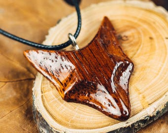 Fox Wooden Necklace Made from Exotic Merbau Wood