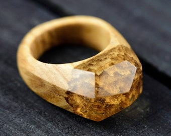 Wooden Resin Ring Secret Wood Ring Landscape Ring Wood And Resin Ring Gift For Wife