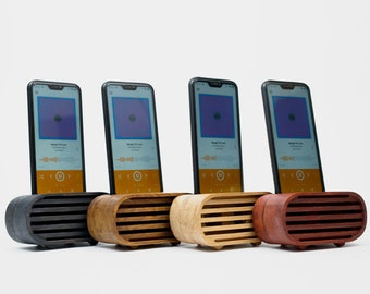 Wooden Phone Speaker, Passive Phone Amplifier, iPhone Acoustic Speaker, Wood Phone Stand, Personalized Christmas Gift