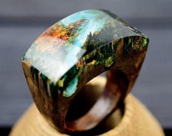 Mountain Forest Wood Resin Ring For Women Christmas Gift for Girl