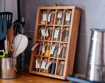 Spice Rack with Glass Jars and Wooden Spoon Deck Stand Spices Kitchen Storage