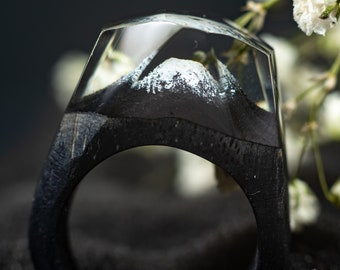 Personalized Wood Resin Ring for Women with Fuji Mountain Landscape