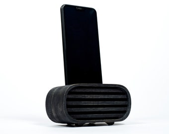Wood Speaker for iPhone, Passive Phone Amplifier, Personalized Phone Stand, Groomsmen Gift Idea, Personalized Christmas Gift for Men