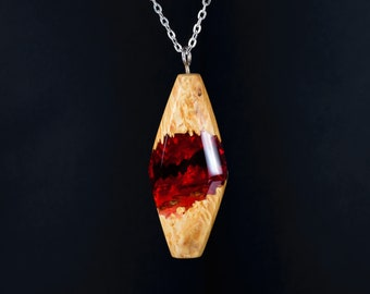 Wood Resin Necklace, Wood Resin Jewelry, Natural Wood Pendant