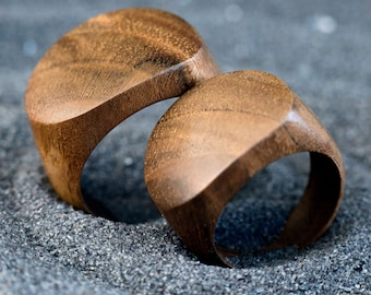 Unisex Walnut Wooden Ring for Couple Wood Rings for 5th Anniversary Gift