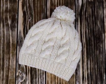 White Slouchy Hat Womens Slouchy Knit Beanie Chunky Knit Hat Winter Pom Pom Hat