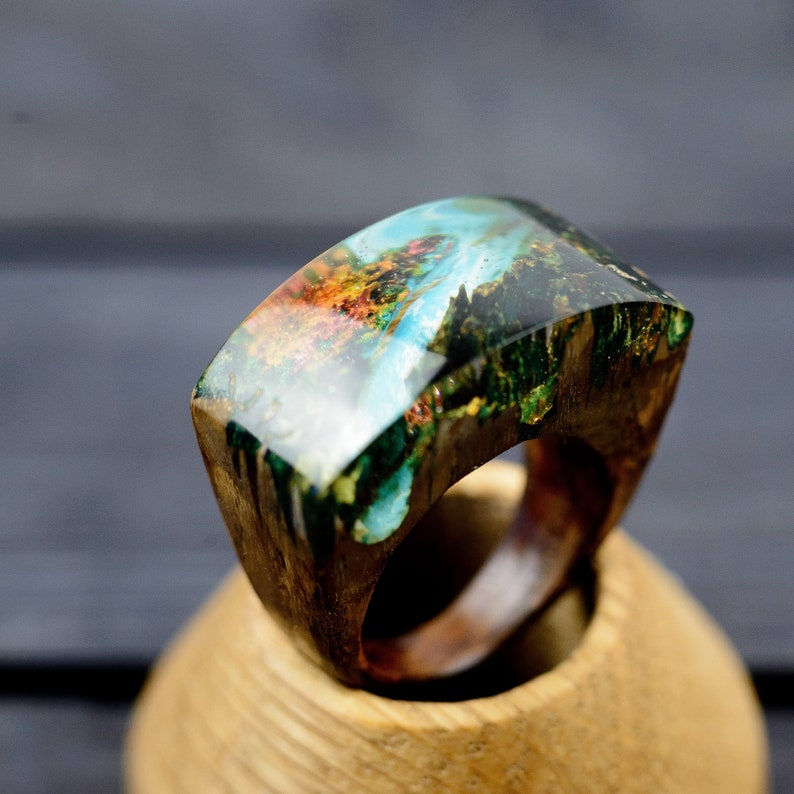 Mountain Forest Wood Resin Ring For Women Christmas Gift for image 0
