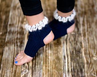 Crochet Yoga Socks Dance Socks Pilates Socks Flip Flop Socks Yoga Accessories Toeless Socks Pedicure Socks Exercise Socks Knitted Socks