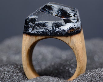 Mountain Wooden Resin Ring, Unique Resin Wood Ring For Women, Nature Resin Ring Anniversary Gift For Wife