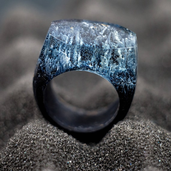 Winter Mountains Epoxy Resin Ring Ring Wooden Resin Ring Wood Resin Jewelry