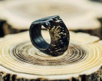 Wood Resin Ring Wooden Resin Ring Handmade Nature Jewelry Minimalist Ring UV Resin Rings Terrarium Jewelry Resin Wood Ring Wooden Ring