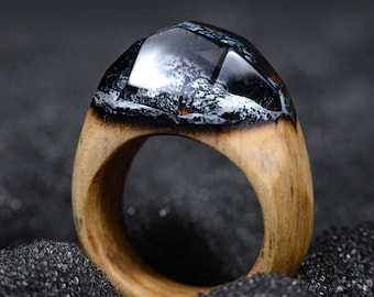 Wooden Resin Ring Anniversary Gift For Wife Natural Wood And Resin Ring Wood Rings Women Rustic Engagement Ring