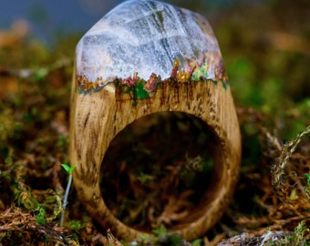 Wooden Resin Ring Nature Resin Ring Landscape Ring Wood And Resin Ring Women Wooden Jewelry Unique Rings Christmas Gift For Woman