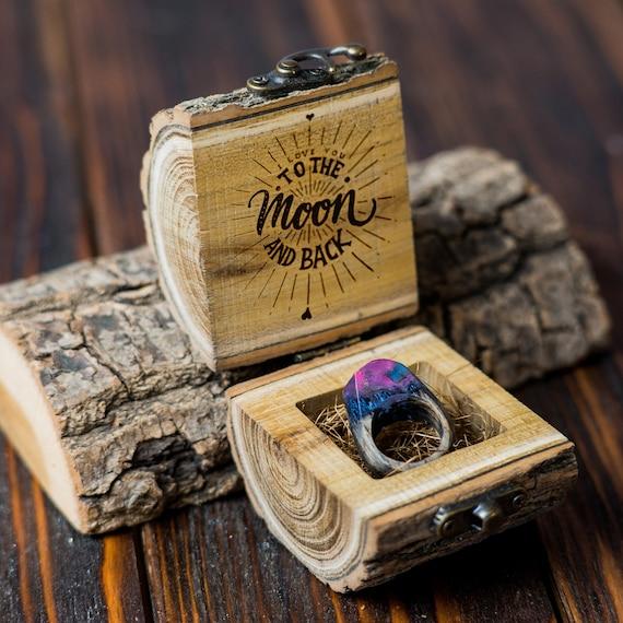 Handmade Ring Box Ring Box Blue Ring Box Wedding Ring Box Gift for the Bride Ring Bearer Box