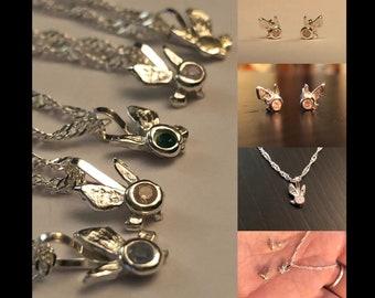 Zelda Navi silver pendant and earrings - Minimalist jewelry