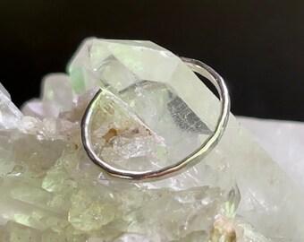Argentium ring - 1 mm dainty ring - stacking ring - silver stacking ring - hammered ring - sterling silver ring