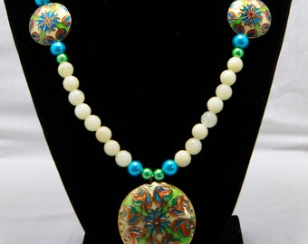 Faceted Jade Necklace With Cloisonné Pendant and Accents Custom Handmade White Green and Blue Necklace Heart Connector