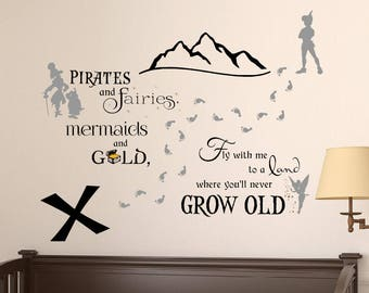 Peter Pan Wall Decal - Neverland Wall Decal - Tinkerbell Wall Decal