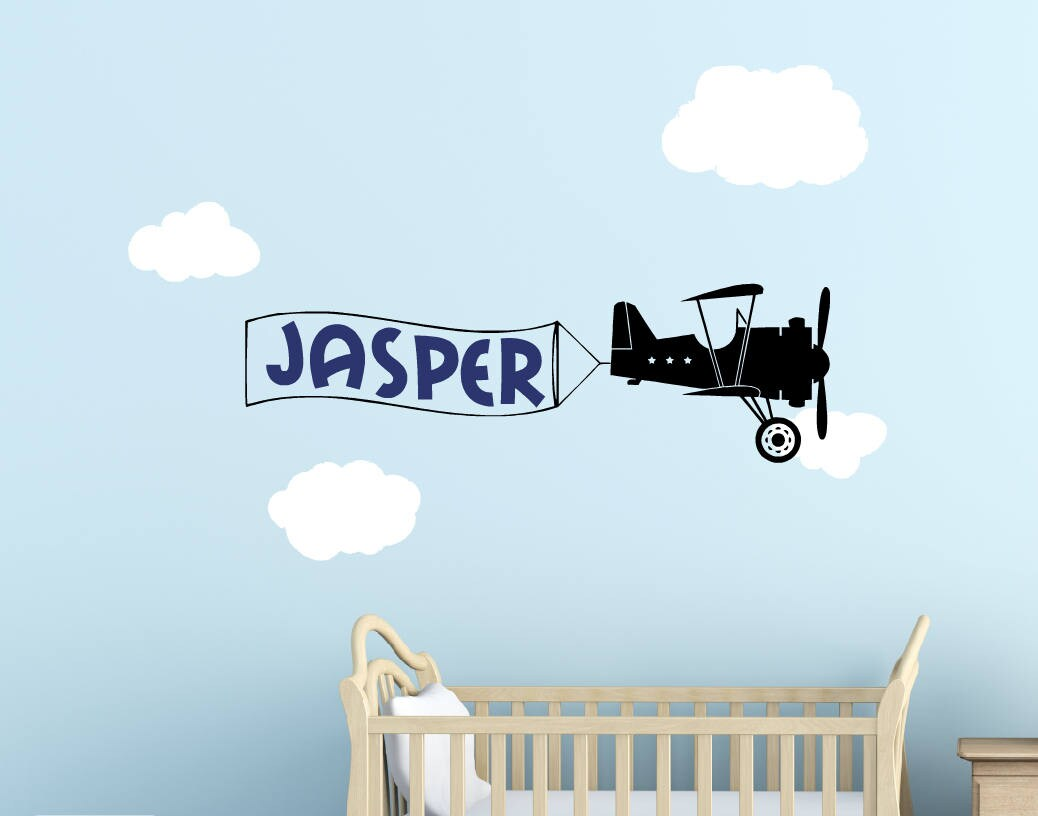 Airplane Wall Decal - Boy Name Wall Decal - Name Banner Wall Decal