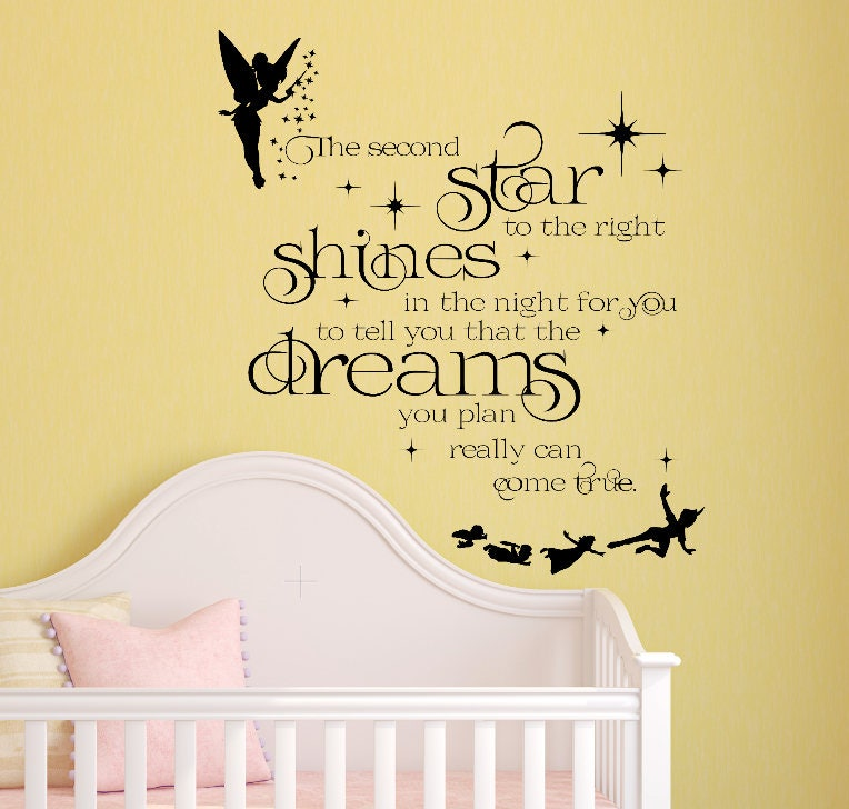 Peter Pan Wall Decal Tinkerbell Wall Decal Neverland Wall Etsy