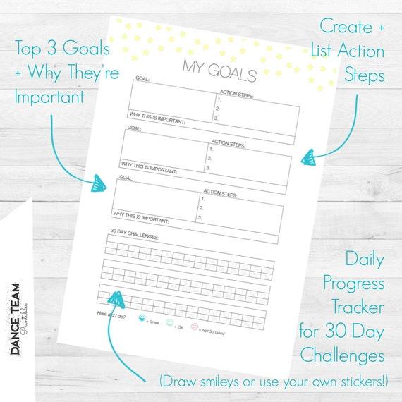 Goal Tracking Worksheet My Goals Printable Etsy